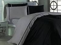Двуспальное постельное белье, Сатин однотонный, микс BLACK & GREY Простыня на резинке