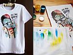 """Футболка с ручной роспись """"Зомби"""" - процесс росписи красками по ткани"""