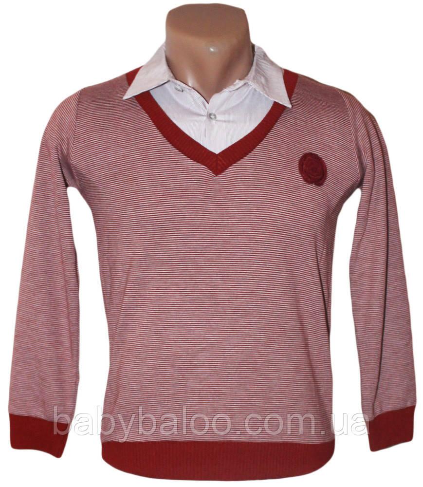 Рубашка для мальчика обманка тонкая полоска (от 6 до 12 лет)