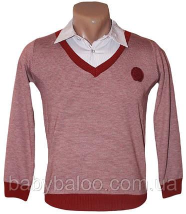 Рубашка для мальчика обманка тонкая полоска (от 6 до 12 лет), фото 2