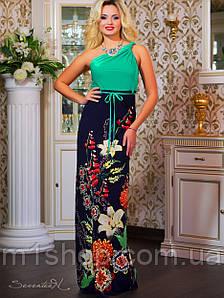 Летнее длинное платье с цветами на юбке (0795-0794-0793-0792 svt)