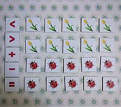 Магнитная математика. Набор магнитных карточек Цветы и божьи коровки