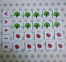 Магнитная математика. Набор магнитных карточек Деревья и божьи коровки