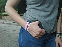 Браслет-стрічка вишиванка (червоно чорна) 20см