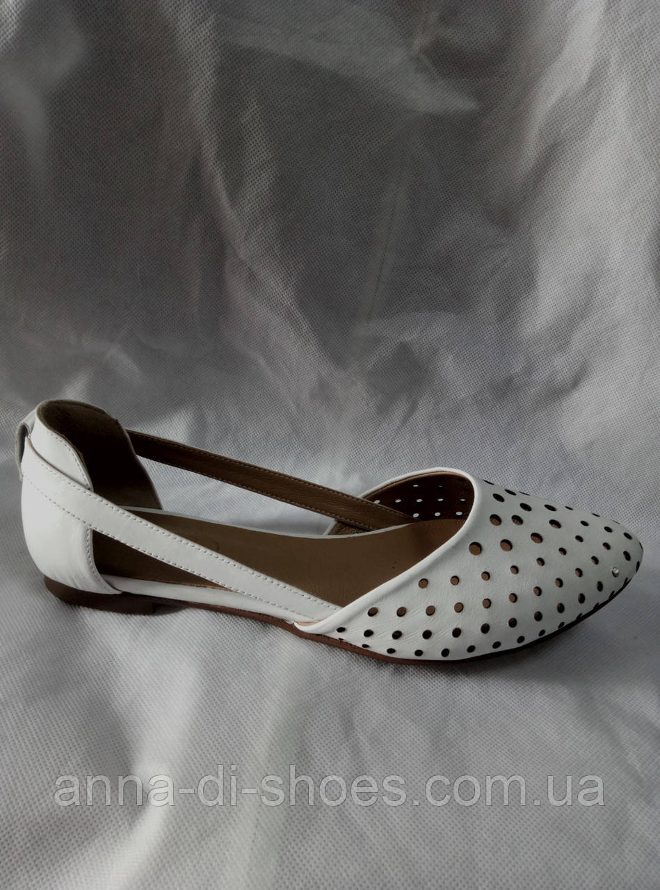 6685c7595546 Женские балетки белые кожаные