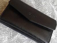 Кошелек женский кожаный черный большой (Турция), фото 1