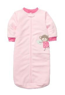 Розовый спальник с мартышкой флисовый (Размер 0-9мес)  Сarters