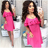 Платье летнее с карманами, новинка 2018, модель 102, цвет - малиновый