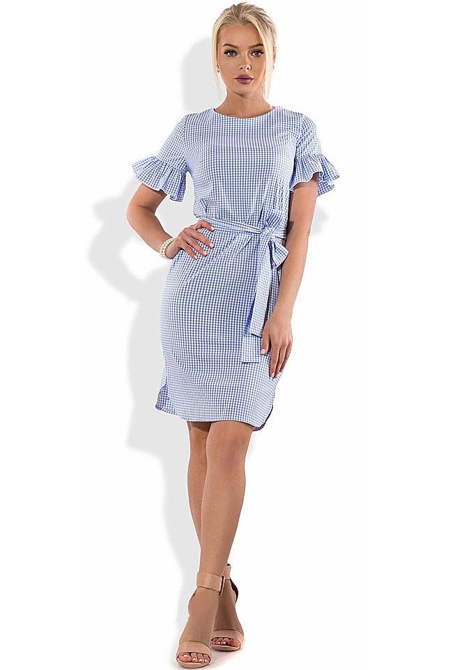 Хлопковое платье с коротким рукавом и поясом Д-1294