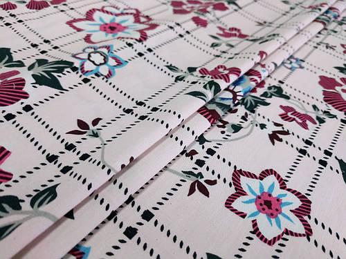 Ткань коттон стрейчевый рисунок цветочная геометрия, светлый бежевый