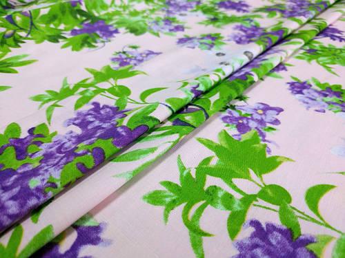 Ткань коттон стрейчевый рисунок летняя акварель, пудра