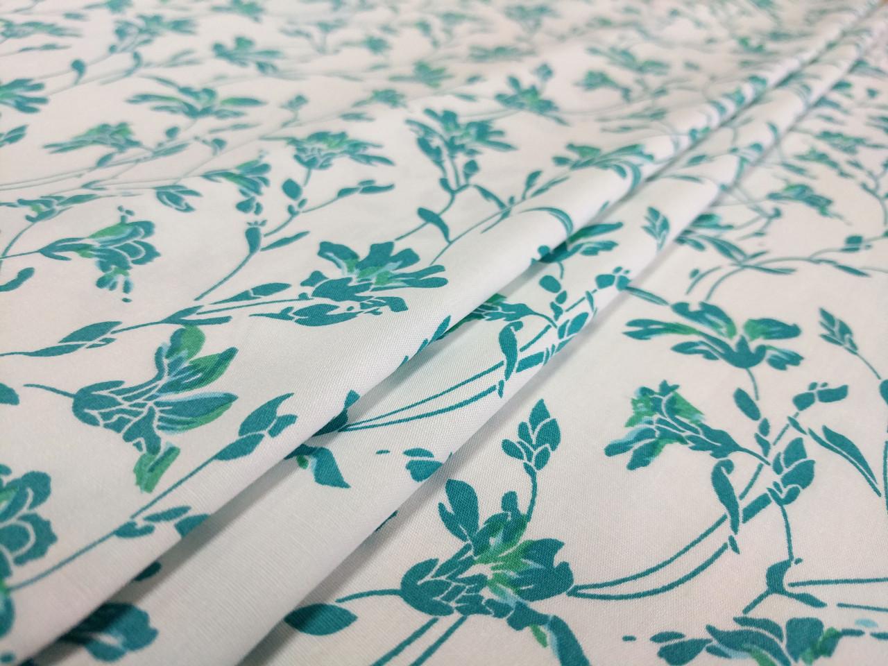 Коттон стрейчевый рисунок цветочная нежность, голубой