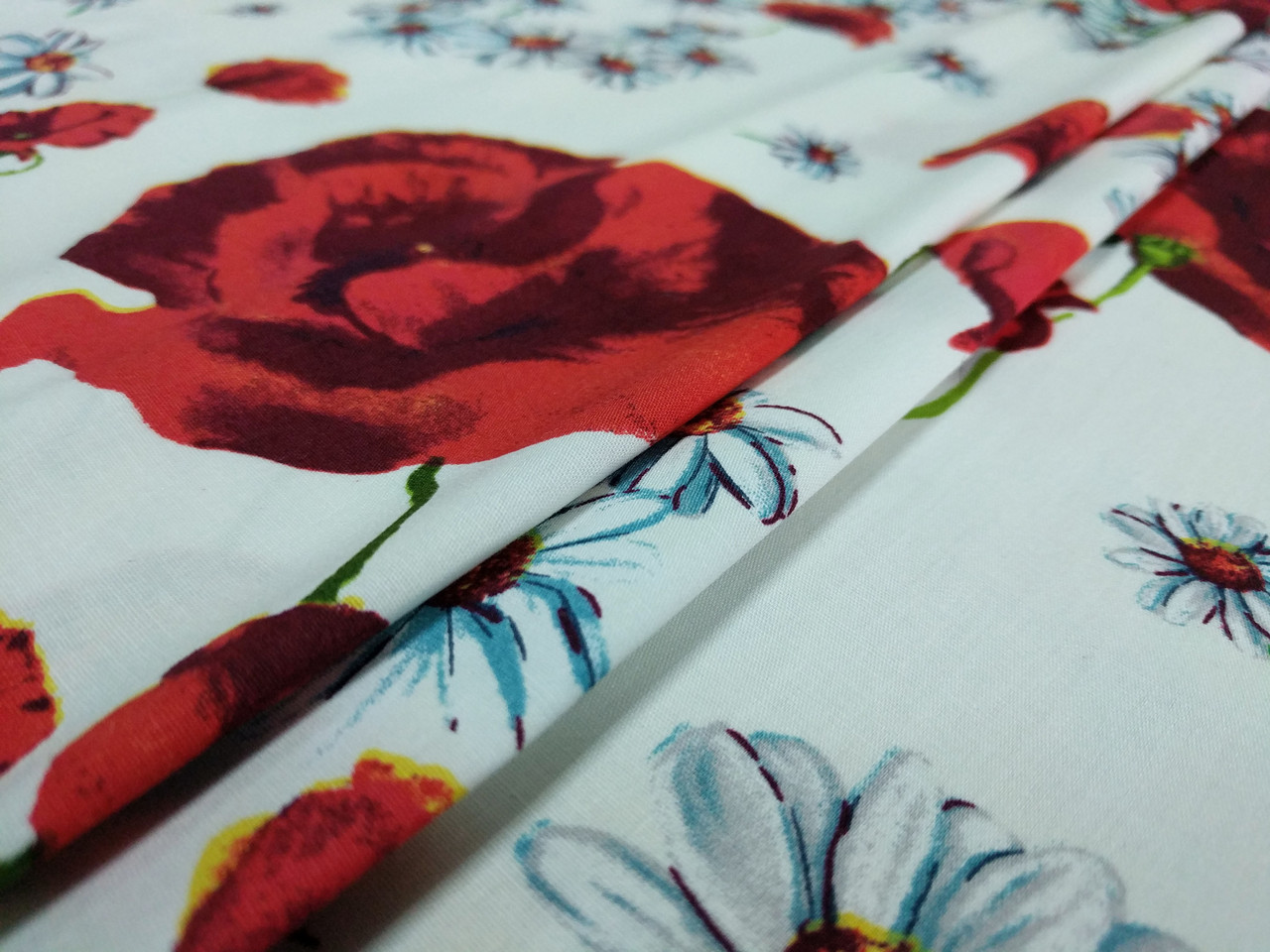 Коттон стрейчевый рисунок цветочный дуэт, белый