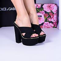 Шлепанцы на каблуке и платформе черные, фото 1