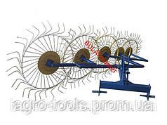 Граблі-ворошилки (Сонечко) товщина грабліни 6,0 мм для мінітрактора (виробник Agromarka LUXE, колір жовто