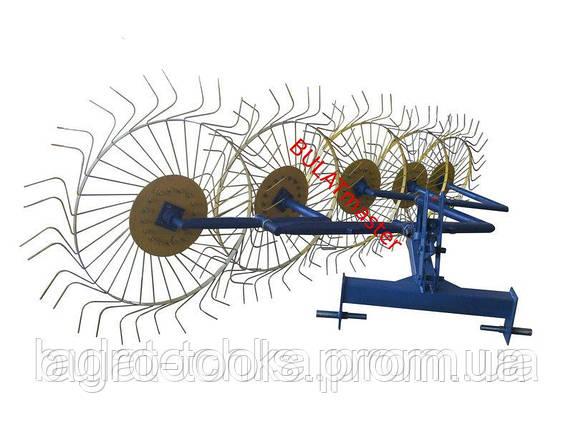 Грабли-ворошилки (Солнышко) толщина граблины 6,0 мм для минитрактора (производитель Agromarka LUXE, цвет желто, фото 2