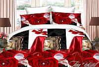 Двуспальный комплект постельного белья с Розами, Полисатин