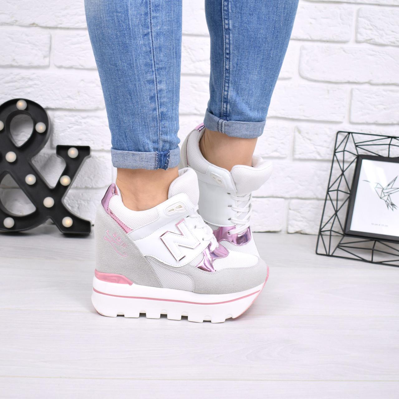 Кроссовки женские на платформе N белые с розовым 5037, спортивная обувь -  Интернет-магазин 30924b52ba2