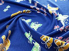 Трикотаж вискозный полет бабочек, синий