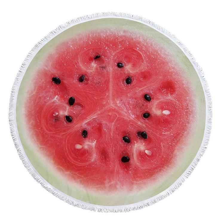 Пляжное полотенце SUNROZ Watermelon круглое покрывало Арбуз 150 см (SUN0875)