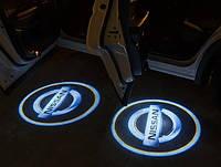 Подсветка логотипа авто на двери Nissan