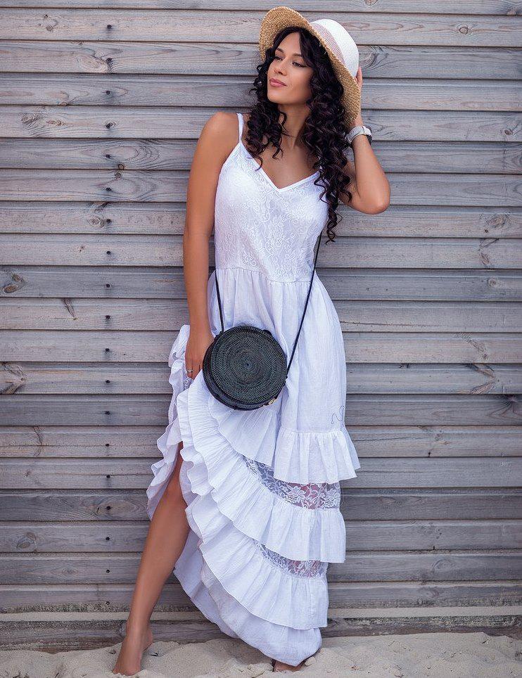 10ad22c1ca9f104 Красивый белый летний сарафан в пол Д-1192 - KORSETOV - Магазин женской  одежды и
