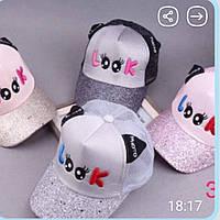 Кепка Бейсболка для девочки с ушками надпись Look