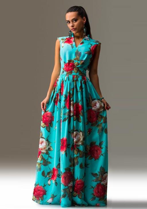 0769661eb6fd2fb Летний сарафан в цветочек с поясом Д-1167 - KORSETOV - Магазин женской  одежды и