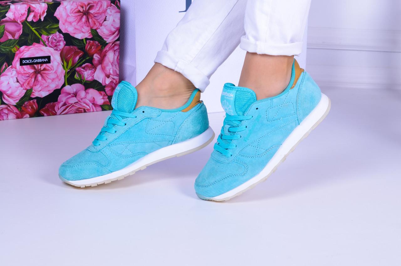 Голубые замшевые кроссовки Reebok. Аналог
