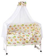 Детская постель Qvatro Gold RG-08 рисунок бежевый (совы на ветках)