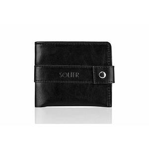 Мужской кожаный кошелек Solier Slim черный