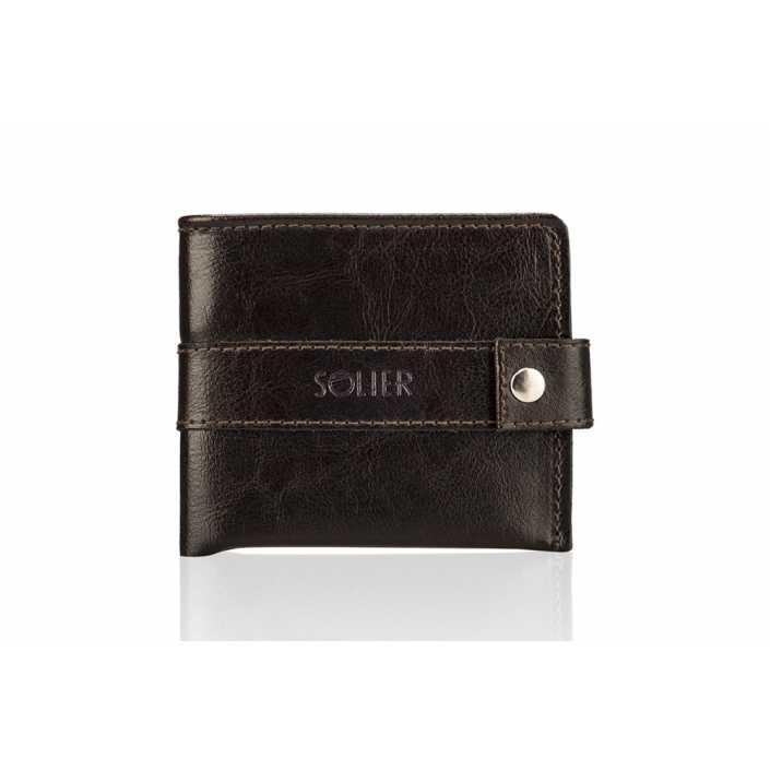 Мужской кожаный кошелек Solier Slim коричневый