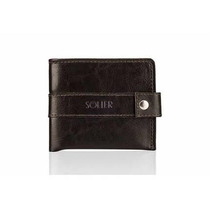 Мужской кожаный кошелек Solier Slim коричневый, фото 2