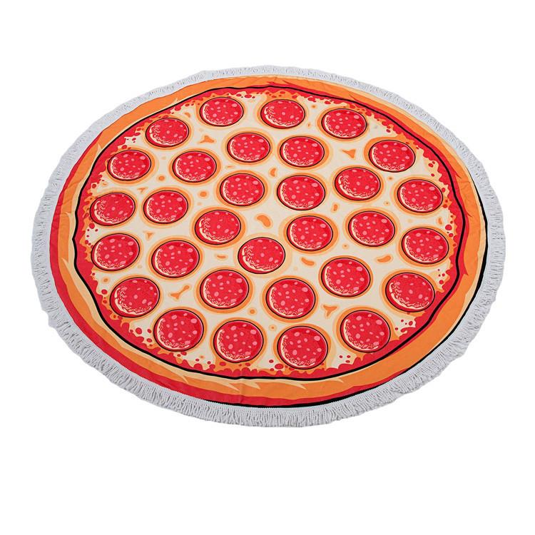 Пляжное полотенце SUNROZ Pizza круглое покрывало Пицца 150 см (SUN0880)