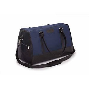 Спортивная мужская дорожная сумка GOVAN на плечо сине коричневая Solier S18