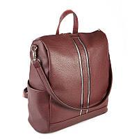 Бордовая сумка-рюкзак трансформер М158-38 средний городской, фото 1