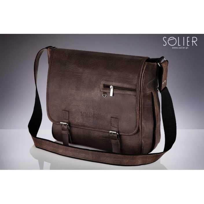 Мужская кожаная сумка на плечо Solier S12 коричневая