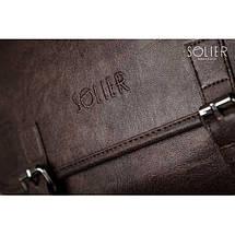 Мужская кожаная сумка на плечо Solier S12 коричневая, фото 2