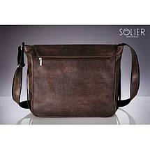 Мужская кожаная сумка на плечо Solier S12 коричневая, фото 3