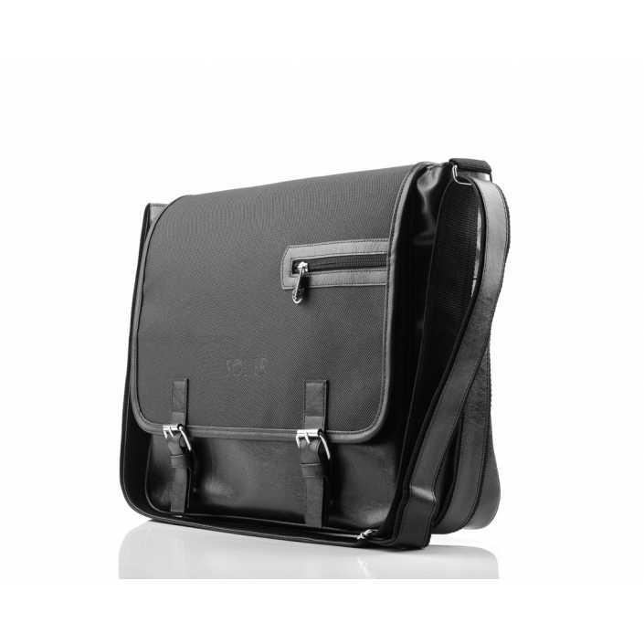 Мужская кожаная сумка на плечо Solier S12 черный карбон
