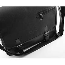 Мужская кожаная сумка на плечо Solier S12 черный карбон, фото 3