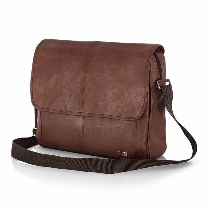 Мужская кожаная сумка на плечо Solier S15 светло-коричневая
