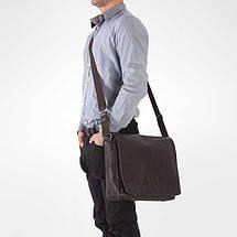 Мужская кожаная сумка на плечо Solier S11 черная, фото 3