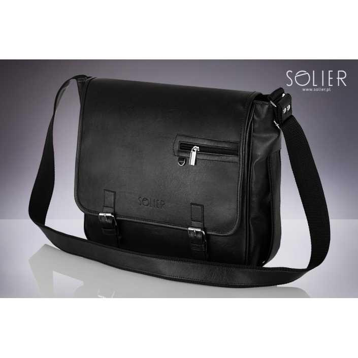 Мужская кожаная сумка на плечо Solier S12 черная