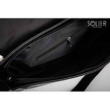 Мужская кожаная сумка на плечо Solier S12 черная, фото 3