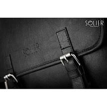 Мужская кожаная сумка на плечо Solier S12 черная, фото 2