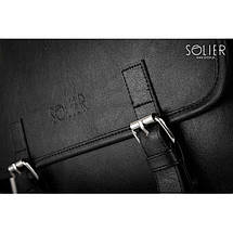 Мужская сумка на плечо Solier S12 черная, фото 2