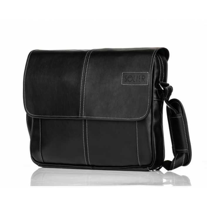 Мужская кожаная сумка на плечо Solier S15 черная
