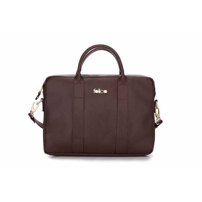Женская кожаная сумка для ноутбука Felice Dulce коричневая