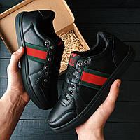 Мужские кроссовки Plagio Fern Gucci Ace embroidered B&W черные ( топ качество)